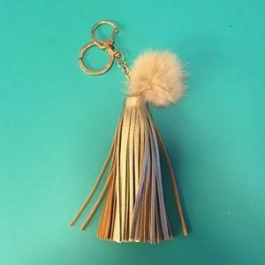 Accessories - Gold Leather Tassel Keychain + Rabbit Fur Pouf
